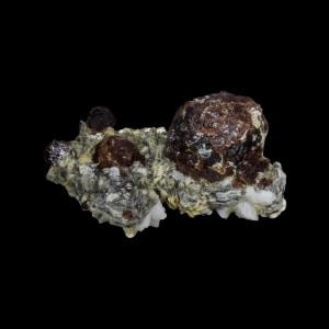 Spessartite Garnet on Muscovite with Orthoclase