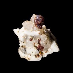 Spessartite Garnet on Quartz and Orthoclase